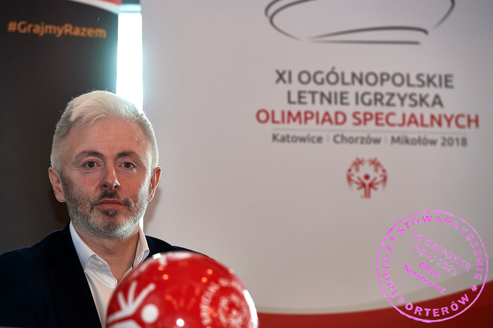 Warsaw, Poland - 2018 May 10: Maciej Stanecki (TVP - national tv broadcast) attends Special Olympics Press Conference at Marriott Champions Sport Bar on May 10, 2018 in Warsaw, Poland.<br /> <br /> Adam Nurkiewicz declares that he has no rights to the image of people at the photographs of his authorship.<br /> <br /> Picture also available in RAW (NEF) or TIFF format on special request.<br /> <br /> Any editorial, commercial or promotional use requires written permission from the author of image.<br /> <br /> Image can be used in the press when the method of use and the signature does not hurt people on the picture.<br /> <br /> Mandatory credit:<br /> Photo by &copy; Adam Nurkiewicz / Mediasport