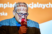 Warsaw, Poland - 2017 March 12: Michal Olszanski Special Olympics Ambassador speaks while Nomination Ceremony of Special Olympics Polish National Team before the Special Olympics World Winter Games Austria  2017 at Marriott Hotel on March 12, 2017 in Warsaw, Poland.<br /> <br /> Mandatory credit:<br /> Photo by &copy; Adam Nurkiewicz / Mediasport<br /> <br /> Adam Nurkiewicz declares that he has no rights to the image of people at the photographs of his authorship.<br /> <br /> Picture also available in RAW (NEF) or TIFF format on special request.<br /> <br /> Any editorial, commercial or promotional use requires written permission from the author of image.<br /> <br /> Image can be used in the press when the method of use and the signature does not hurt people on the picture.