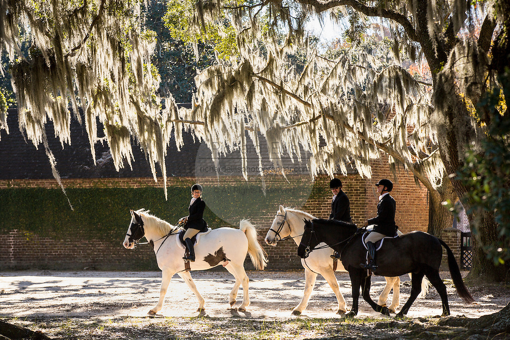 Fox hunters gather at Middleton Plantation for the annual Blessing of the Hounds beginning the start of the season on November 25, 2012 in Charleston, South Carolina. Fox Hunting in South Carolina is a drag hunt which doesn't kill live foxes.