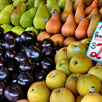 Pears, Plumbs and Asian Pear Apples at Public Market Center in Seattle, Washington