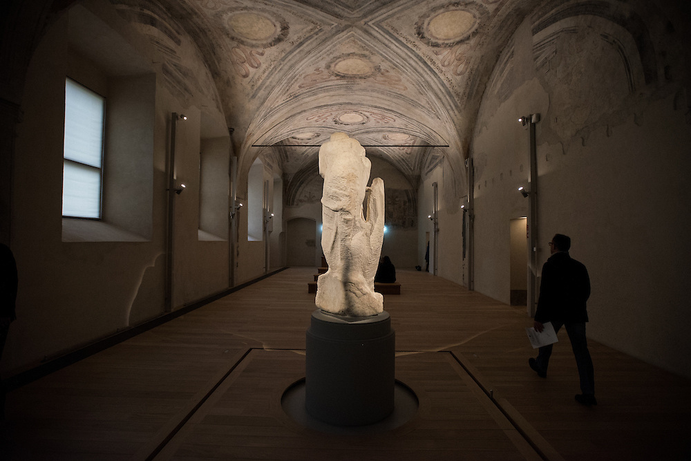 Milan, Italy - 17 April 2015: the back of Michelangelo's Rondanini Pietà at the newly restored Ospedale Spagnolo of Castello Sforzesco