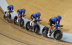 Italy riders during the Women's Team Pursuit Gold Final during day two of the 2018 European Championships at the Sir Chris Hoy Velodrome, Glasgow.