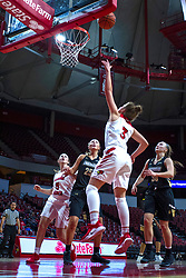 NORMAL, IL - October 30:  Mary Compton completes the lay up during a college women's basketball game between the ISU Redbirds and the Lions on October 30 2019 at Redbird Arena in Normal, IL. (Photo by Alan Look)