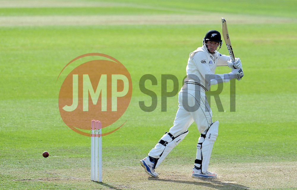 New Zealand's Mitchell Santner pulls the ball. Photo mandatory by-line: Harry Trump/JMP - Mobile: 07966 386802 - 09/05/15 - SPORT - CRICKET - Somerset v New Zealand - Day 2- The County Ground, Taunton, England.