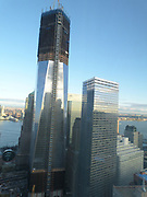 2012 April; (Left) One World Trade Center and (right) New World Trade Center 7 building, re-built aftre the terrorist attack on the World Trade Centre, at Ground Zero, New York, in september 2011.