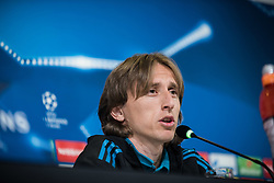 April 2, 2018 - Turin, Piedmont/Turin, Italy - Luka Modri? during the Real Madrid press conference before the UFC match Juventus FC vs Real Madrid. Allianz Stadium, Turin, Italy 2nd april 2018  (Credit Image: © Alberto Gandolfo/Pacific Press via ZUMA Wire)