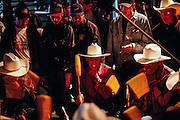 Drum circle at Schemitzun Powwow in North Stonington, Connecticut, on the Mashantucket Pequot reservation in 1996.