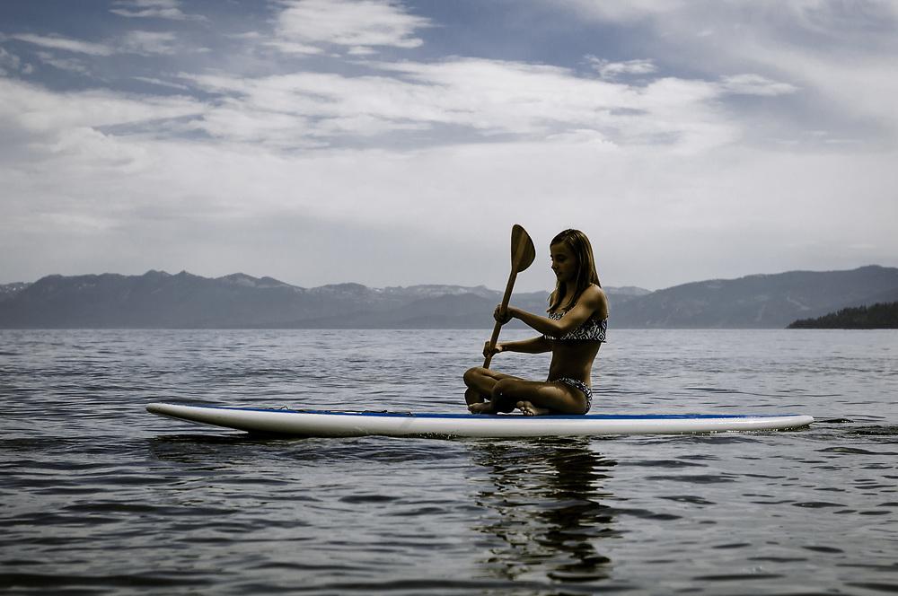Samantha Jameson, paddle boarding Lake Tahoe, CA