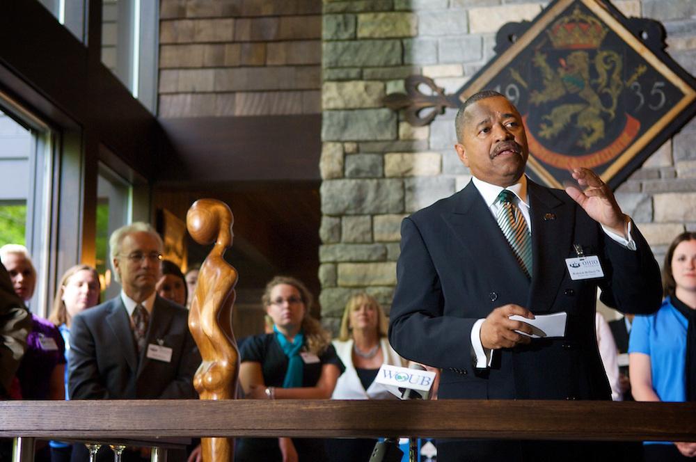 President McDavis speaks to the group.