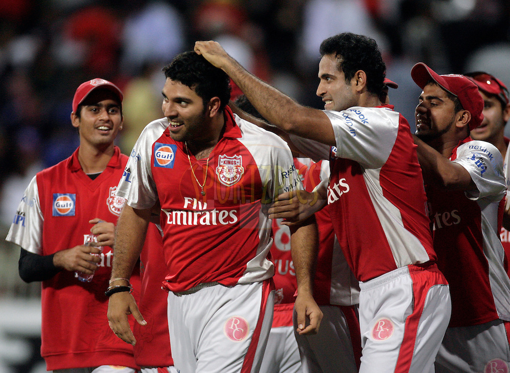 DURBAN, SOUTH AFRICA - 1 May 2009. Yuvraj Singh celebrates his hattrick with Irfan Pathan during the IPL Season 2 match between Kings X1 Punjab and the Royal Challengers Bangalore held at Sahara Stadium Kingsmead, Durban, South Africa..