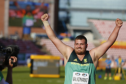 July 10, 2018 - Tampere, Suomi Finland - 180710 Friidrott, Junior-VM, Dag 1: Kyle Blignaut, RSA celebrating win  in Shot Put  during the IAAF World U20 Championships day 1 at the Ratina stadion 10. July 2018 in Tampere, Finland. (Newspix24/Kalle Parkkinen) (Credit Image: © Kalle Parkkinen/Bildbyran via ZUMA Press)