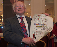11 May 2012 President Michael D. Higgins who received the freedom of Galway city from Galway city Council in Hotel Meyrick. Photo:Andrew Downes