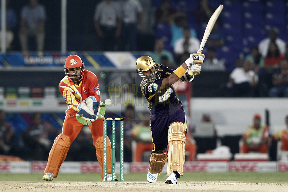 Robin Uthappa of the Kolkata Knight Riders bats during match 7 of the Oppo Champions League Twenty20 between the Kolkata Knight Riders and the Lahore Lions held at the Rajiv Gandhi Cricket Stadium, Hyderabad, India on the 21st September 2014<br /> <br /> Photo by:  Deepak Malik / Sportzpics/ CLT20<br /> <br /> <br /> Image use is subject to the terms and conditions as laid out by the BCCI/ CLT20.  The terms and conditions can be downloaded here:<br /> <br /> http://sportzpics.photoshelter.com/gallery/CLT20-Image-Terms-and-Conditions-2014/G0000IfNJn535VPU/C0000QhhKadWcjYs