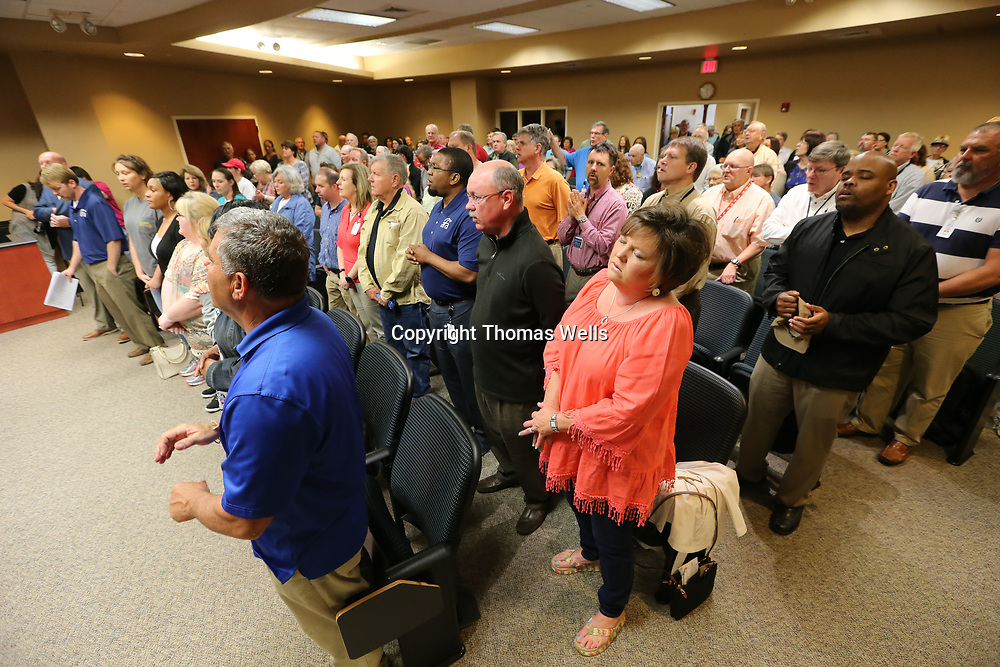 Nearly 200 area residents packed into the City of Tupelo Council Chambers at City Hall on Thursday to take part in National Day of Prayer.
