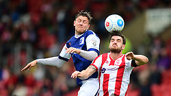 Barrow's Richard Bennett vies for possession with Lincoln City's Luke Waterfall<br /> <br /> Picture: Chris Vaughan/Chris Vaughan Photography<br /> <br /> Football - Vanarama National League - Lincoln City Vs Barrow - Saturday 17th September 2016 - Sincil Bank - Lincoln<br /> <br /> Copyright © 2016 Chris Vaughan Photography. All rights reserved. Unit 11, Churchill Business Park, Bracebridge Heath, Lincoln, LN4 2FF - Telephone: 07764170783 - info@chrisvaughanphotography.co.uk - www.chrisvaughanphotography.co.uk
