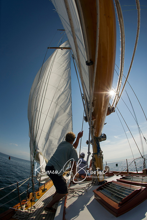 Hoisting the sails Ogunquit, Maine.  ©2016 Karen Bobotas Photographer