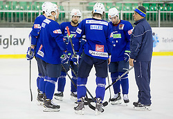 Mitja Robar, Rok Ticar, Matjaz Kopitar, head coach during practice session of Slovenian National Ice Hockey Team prior to the IIHF World Championship in Ostrava (CZE), on April 21, 2015 in Hala Tivoli, Ljubljana, Slovenia. Photo by Vid Ponikvar / Sportida