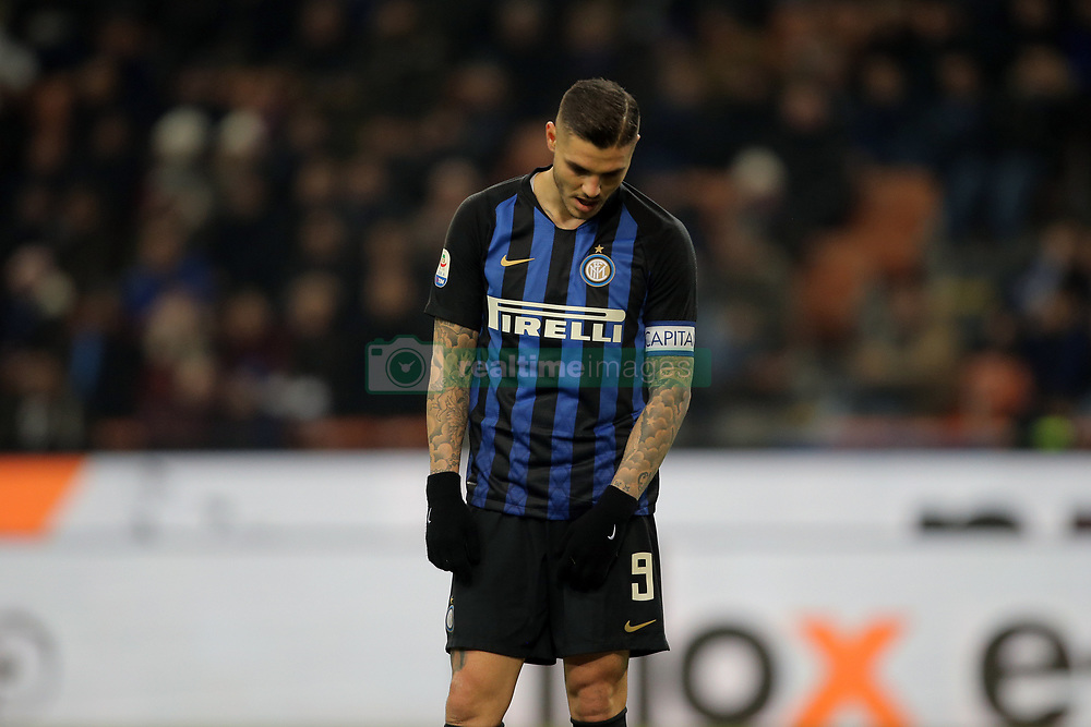 February 3, 2019 - Milan, Milan, Italy - Mauro Icardi #9 of FC Internazionale Milano reacts to a missed chance during the serie A match between FC Internazionale and Bologna FC at Stadio Giuseppe Meazza on February 3, 2019 in Milan, Italy. (Credit Image: © Giuseppe Cottini/NurPhoto via ZUMA Press)