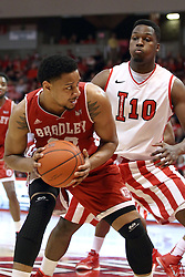 17 January 2015:   Mike Shaw tries to back into the paint defended by John Jones during an NCAA MVC (Missouri Valley Conference men's basketball game between the Bradley Braves and the Illinois State Redbirds at Redbird Arena in Normal Illinois