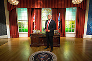 UNITED KINGDOM, London: 18 January 2017 The wax figure of President Elect Donald J. Trump stands proud in the Madame Tussauds London's Oval Office section as it gets unveiled today. The London wax figure is one of four Trump figures created by Madame Tussauds globally, the others are in Washington D.C, New York and Orlando. Rick Findler / Story Picture Agency