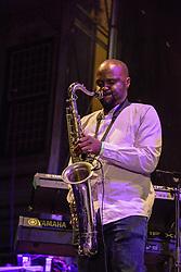 Percy Mbonani, Mango Groove. Cape Town Jazz Festival Free Community Concert, 29 March 2017. Greenmarket Square. Photo by Alec Smith/imagemundi.com