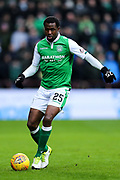 Efe Ambrose (#25) of Hibernian in action during the William Hill Scottish Cup 4th round match between Heart of Midlothian and Hibernian at Tynecastle Stadium, Gorgie, Scotland on 21 January 2018. Photo by Craig Doyle.