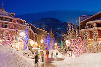 Whistler Village is magical on a winter evening after a fresh snowfall.