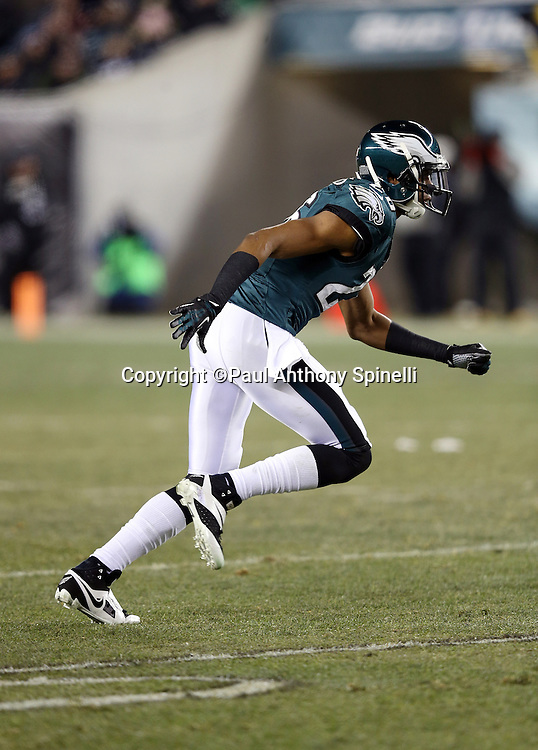 Philadelphia Eagles cornerback Cary Williams (26) chases the action during the NFL NFC Wild Card football game against the New Orleans Saints on Saturday, Jan. 4, 2014 in Philadelphia. The Saints won the game 26-24. ©Paul Anthony Spinelli