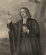 John Wesley (1703-1791) English non-conformist preacher. Founder of  Methodism.  Wesley at the age of 65 preaching in the open air. Engraving.