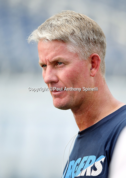 San Diego Chargers head coach Mike McCoy looks on before the 2015 NFL week 5 regular season football game against the Pittsburgh Steelers on Monday, Oct. 12, 2015 in San Diego. The Steelers won the game 24-20. (©Paul Anthony Spinelli)