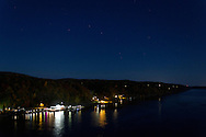 Highland, New York - The Big Dipper shines in the night sky over the Hudson River and the Highland shoreline on Oct. 18, 2013. The photograph was taken from Walkway over the Hudson State Park.