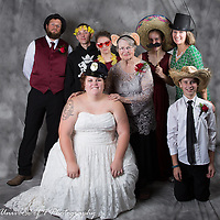 """The bride enjoying our """"open air"""" photo booth. This is included in all of our wedding packages. Your guest can have free formals and lots of fun!! Everyone gets involved."""