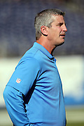 San Diego Chargers offensive coordinator Frank Reich looks on from the sideline during pregame warmups before the NFL week 15 regular season football game against the Denver Broncos on Sunday, Dec. 14, 2014 in San Diego. The Broncos won the game 22-10. ©Paul Anthony Spinelli