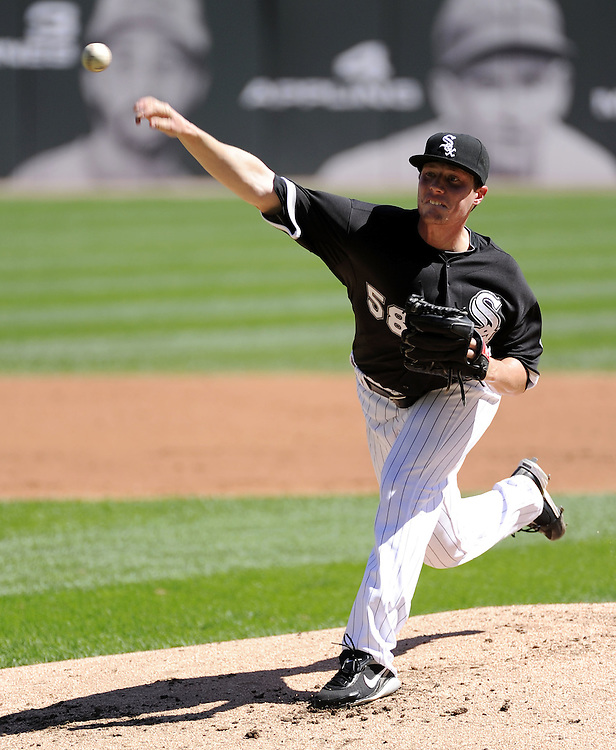 CHICAGO - SEPTEMBER 12:  Lucas Harrell #58 of the Chicago White Sox pitches against the Kansas City Royals on September 12, 2010 at U.S. Cellular Field in Chicago, Illinois.  The White Sox defeated the Royals 12-6.  (Photo by Ron Vesely)