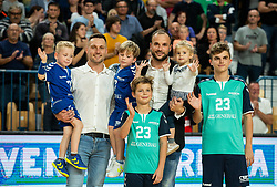 Luka Zvizej and Uros Zorman with their kids during handball event named Rokometna simfonija organised as a game between Zorman's team and Zvizej's team when Uros Zorman and Luka Zvizej officially retire from their professional handball career, on October 24, 2019 in Arena Zlatorog, Celje, Slovenia. Photo by Vid Ponikvar / Sportida