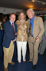 Left to right, ANDREW ROBERTS and ANDREW & SONIA SINCLAIR at a party hosted by Sonia & Andrew Sinclair at The Westminster Boating Base, 136 Grosvenor Road, London SW1 on 5th June 2006.<br />
