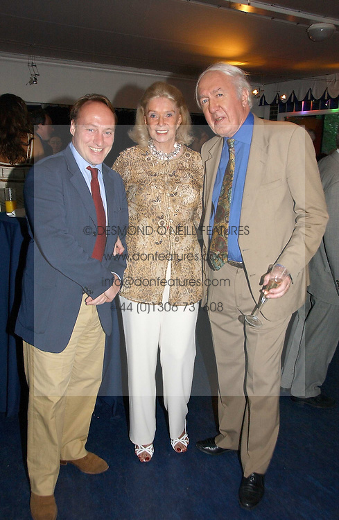 Left to right, ANDREW ROBERTS and ANDREW &amp; SONIA SINCLAIR at a party hosted by Sonia &amp; Andrew Sinclair at The Westminster Boating Base, 136 Grosvenor Road, London SW1 on 5th June 2006.<br /><br />NON EXCLUSIVE - WORLD RIGHTS