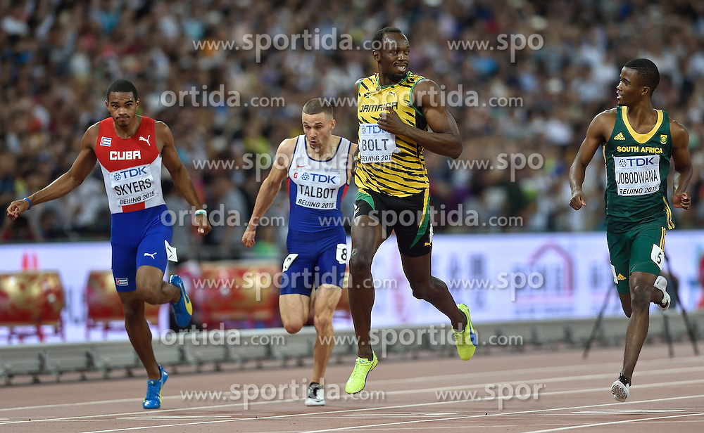 26-08-2015 CHN: IAAF World Championships Athletics day 5, Beijing<br /> Usain Bolt and Anaso Jobowana at 200 m Men<br /> Photo by Ronald Hoogendoorn / Sportida