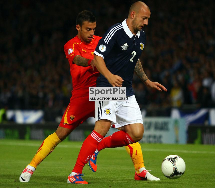 Alan Hutton Scotland nips in the take the ball from Ferhan Hasani macedonia and Volfsburg in the .FIFA World Cup Qualifier scotland v macedonia, hampden stadium, glasgow .Kevin McGlynn(c)  | StockPix.eu.