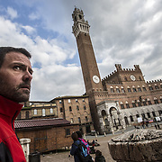 Former Societé Génerale trader Jerome Kerviel , look on in Piazza del Campo, Siena, on March 6 2014.Following a brief meeting with Pope Francis in February, Jerome decided to walk back to France following the footsteps of the ancient Francigena route. Kerviel, of French securities firm Société Générale was charged with losing more than $7 billion in company assets by conducting a series of unauthorized and false trades between 2006 and early 2008.Kerviel 's last sentence verdict is fixed for the 19th of march.If the accusation will be confirmed he risks three years in prison for his role in one of the world's biggest trading scandals.