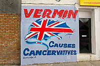 'VERMIN Causes Cancervatives' <br /> New mural by street artist Artful Dodger on a wall in Herne Hill, SE London, UK. <br /> PLEASE CREDIT STREET ARTIST