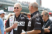 David Letterman chats with co-owner Bobby Rahal on the grid prior to the running of the 93rd Indy 500.