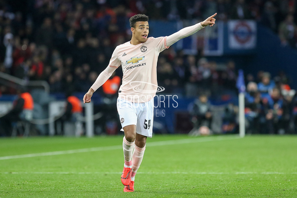 Manchester United forward Mason Greenwood gestures as he comes on as a substitute during the Champions League Round of 16 2nd leg match between Paris Saint-Germain and Manchester United at Parc des Princes, Paris, France on 6 March 2019.