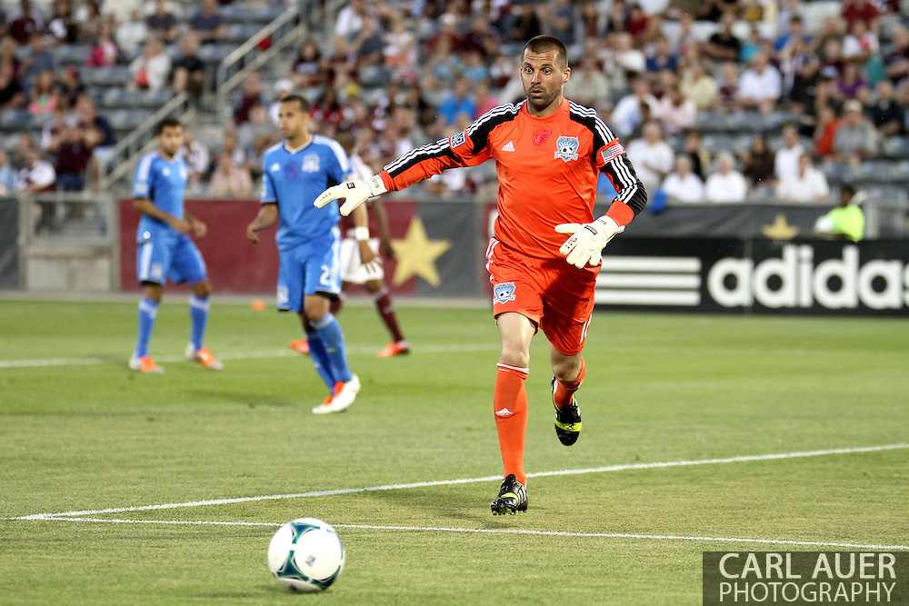 June 15th, 2013 - San Jose Earthquake goalkeeper Jon Busch (18) tracks down the ball during second half action of the MLS match between San Jose Earthquake and the Colorado Rapids at Dick's Sporting Goods Park in Commerce City, CO