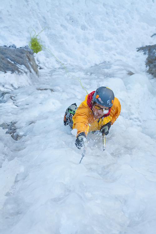 Doug Shepherd solos Ames Ice Hose near Telluride, Colorado, USA.