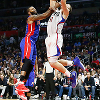 07 November 2016: Los Angeles Clippers forward Blake Griffin (32) is fouled by Detroit Pistons forward Marcus Morris (13) during the LA Clippers 114-82 victory over the Detroit Pistons, at the Staples Center, Los Angeles, California, USA.