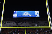 The scoreboard shows the Los Angeles Rams next game after the Los Angeles Rams win the NFL divisional football playoff game against the Dallas Cowboys in Los Angeles, Saturday, Jan. 12, 2019. The Rams won the game 30-22. (©Paul Anthony Spinelli)