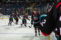KELOWNA, CANADA - DECEMBER 5:  Nolan Foote #29 of the Kelowna Rockets first bumps the bench to celebrate a second period goal against the Tri-City Americans on December 5, 2018 at Prospera Place in Kelowna, British Columbia, Canada.  (Photo by Marissa Baecker/Shoot the Breeze)