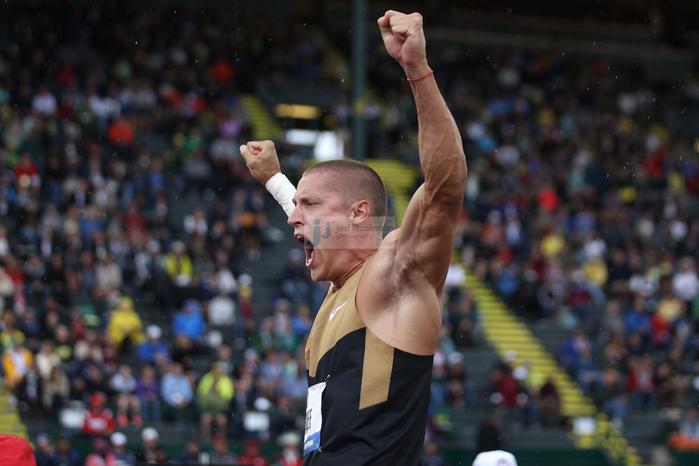 Trey Hardee celebrates after his second throw of the shot put portion of the Decathlon during day 1 of the U.S. Olympic Trials for Track & Field at Hayward Field in Eugene, Oregon, USA 22 Jun 2012..(Jed Jacobsohn/for The New York Times)...