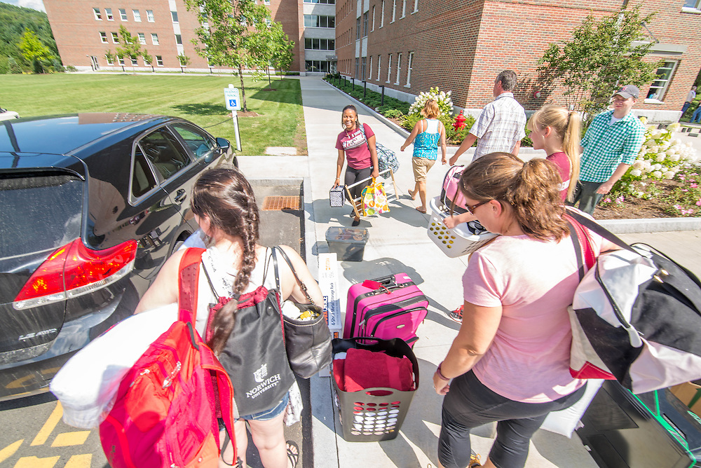 Civilian freshmen arrival day at Norwich University.